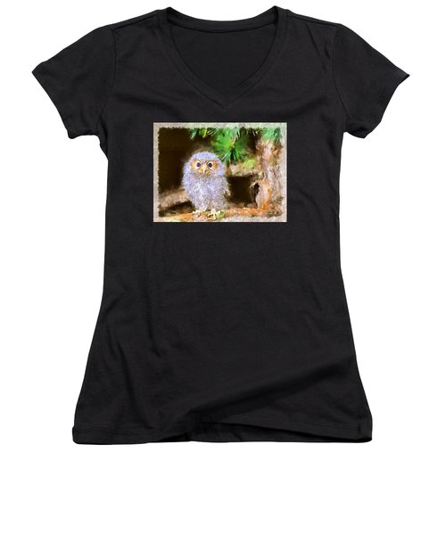 Women's V-Neck T-Shirt (Junior Cut) featuring the digital art Owlet-baby Owl by Maciek Froncisz