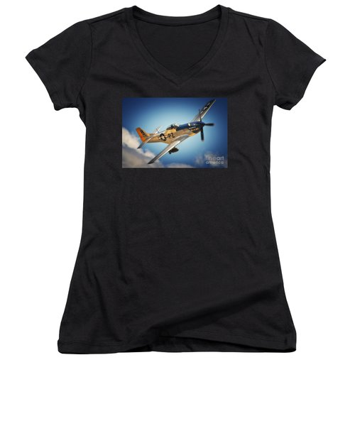 P-51 Mustang Hell Er Bust Women's V-Neck (Athletic Fit)