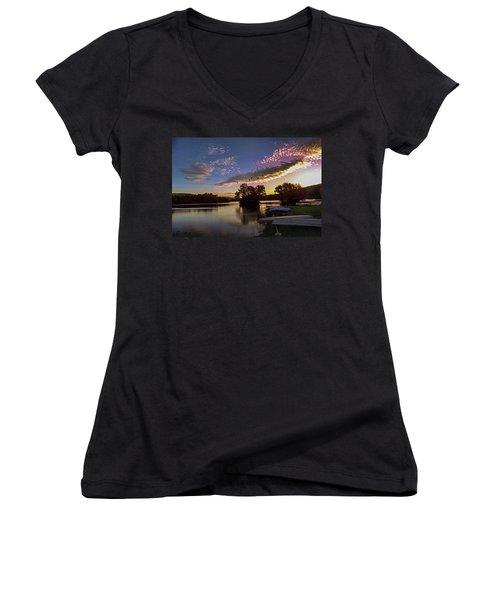 Pa French Creek 2074 Women's V-Neck T-Shirt (Junior Cut) by Scott McAllister