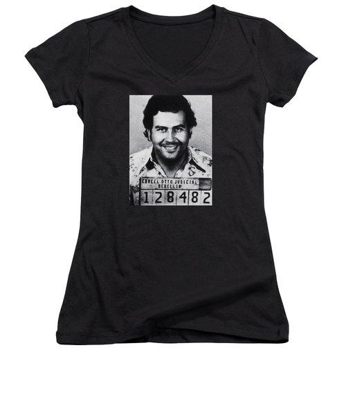 Pablo Escobar Mug Shot 1991 Vertical Women's V-Neck T-Shirt (Junior Cut) by Tony Rubino