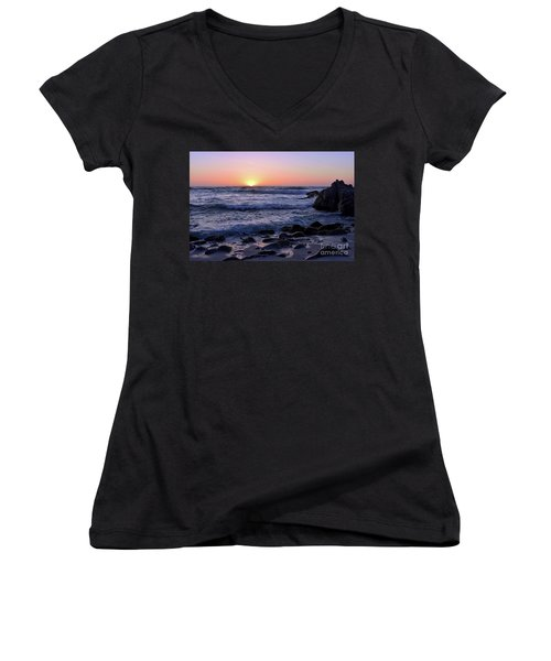 Women's V-Neck T-Shirt (Junior Cut) featuring the photograph Pacific Twilight by Gina Savage