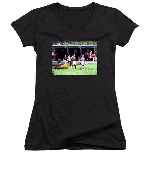 Women's V-Neck T-Shirt (Junior Cut) featuring the digital art Paddock Painting by  Newwwman