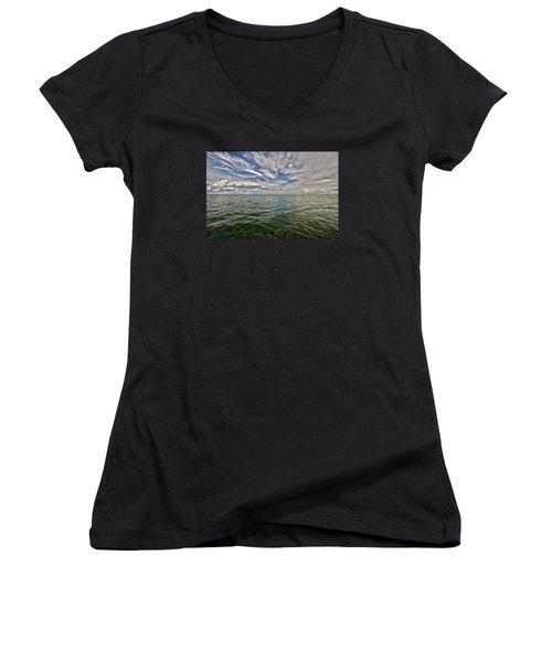 Paint Brush Sky - Ft Myers Beach Women's V-Neck T-Shirt (Junior Cut) by Christopher L Thomley
