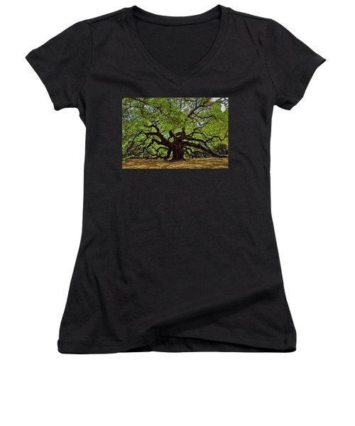 Painted Angle Tree Women's V-Neck (Athletic Fit)