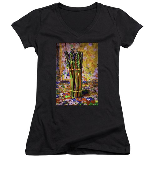 Painted Asparagus Women's V-Neck T-Shirt (Junior Cut) by Garry Gay