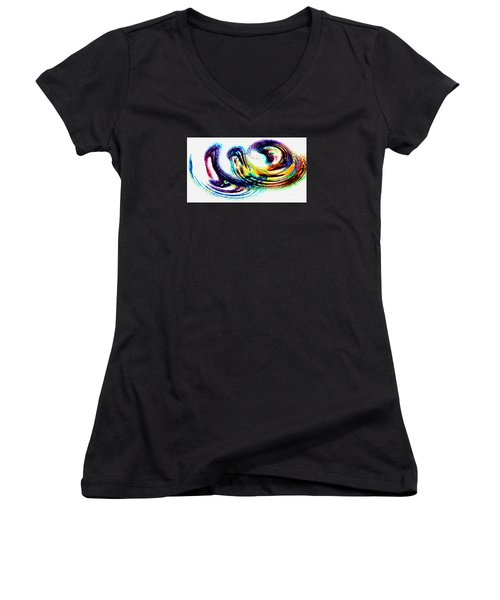 Women's V-Neck T-Shirt (Junior Cut) featuring the photograph Painted Fantasy - Modern Art by Merton Allen