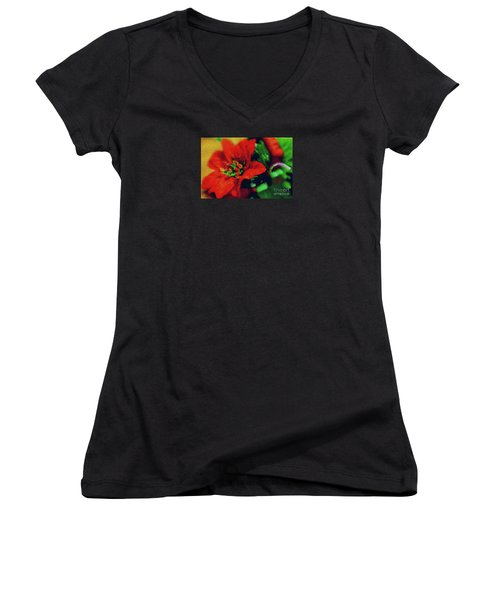 Women's V-Neck T-Shirt (Junior Cut) featuring the photograph Painted Poinsettia by Sandy Moulder