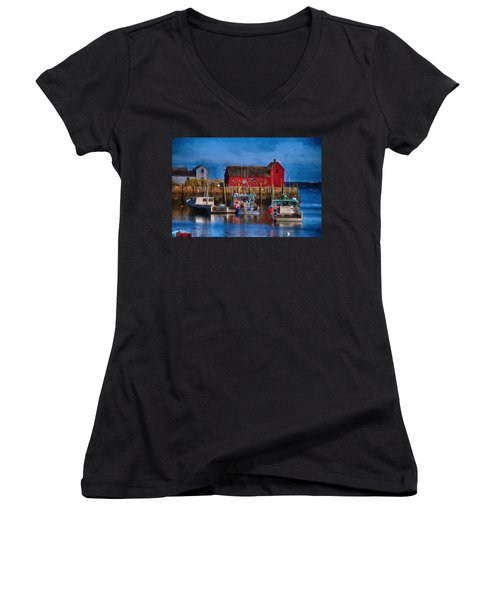 Painterly Motif #1 Rockport Women's V-Neck T-Shirt (Junior Cut) by Tricia Marchlik