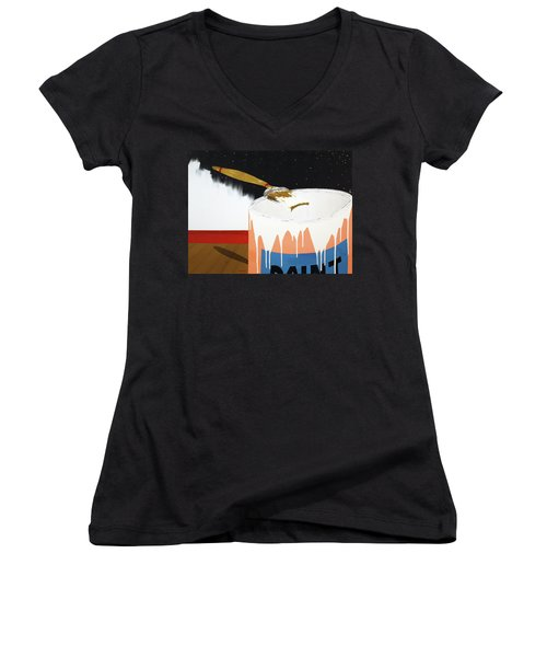 Women's V-Neck T-Shirt (Junior Cut) featuring the painting Painting Out The Sky by Thomas Blood