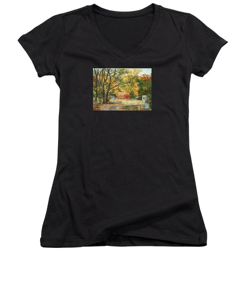 Painting The Fall Colors Women's V-Neck (Athletic Fit)