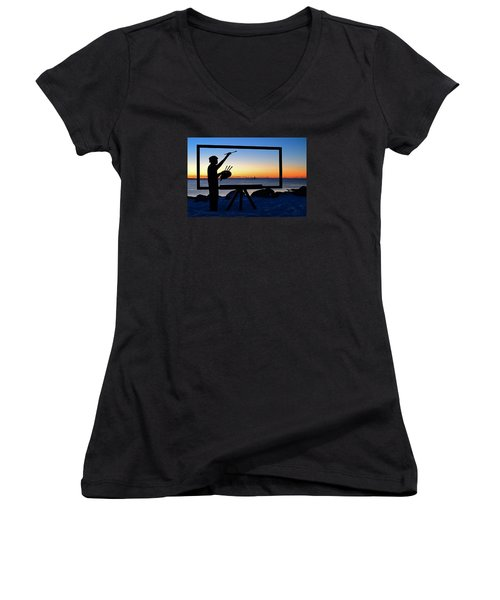 Painting The Perfect Sunrise Women's V-Neck T-Shirt (Junior Cut) by James Kirkikis