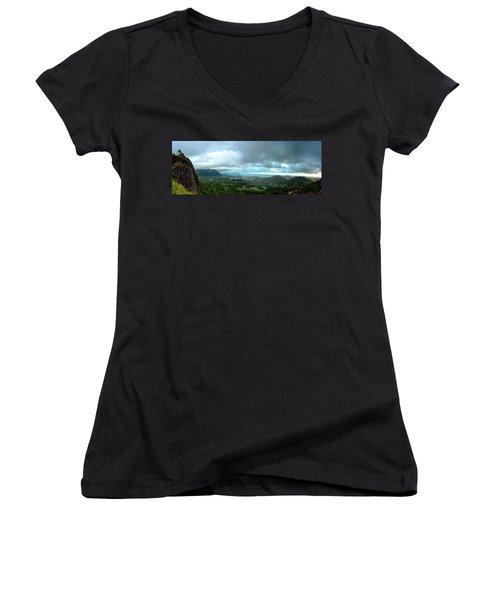 Women's V-Neck T-Shirt (Junior Cut) featuring the photograph Pali Lookout Dawn by Dan McManus