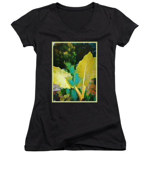 Women's V-Neck T-Shirt (Junior Cut) featuring the painting Palm Branches by Mindy Newman
