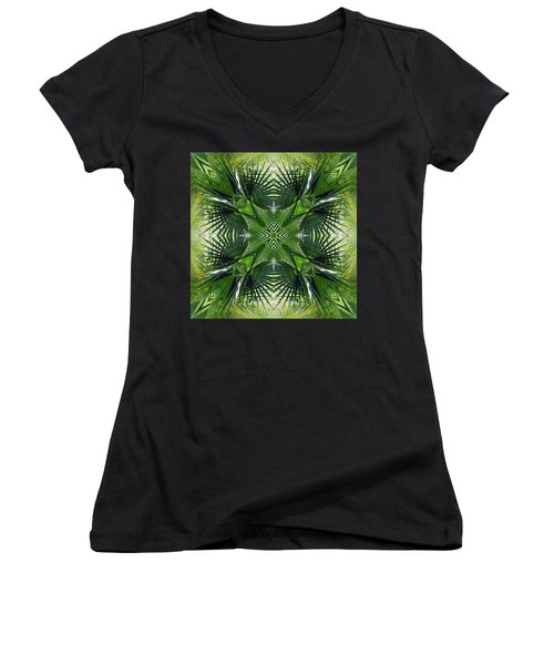 Women's V-Neck T-Shirt (Junior Cut) featuring the photograph Palm Frond Kaleidoscope by Francesa Miller