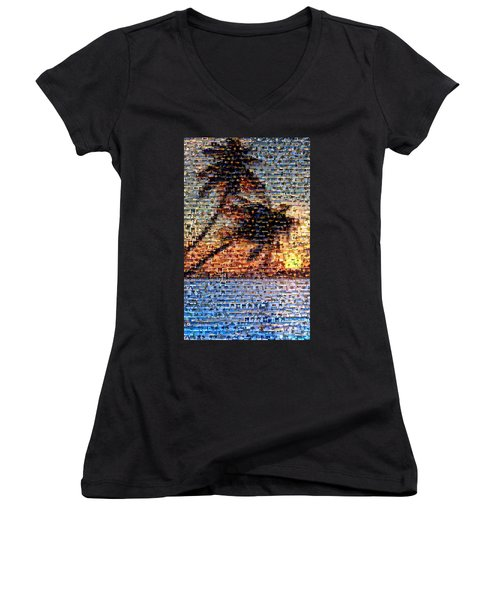 Women's V-Neck T-Shirt (Junior Cut) featuring the mixed media Palm Tree Mosaic by Paul Van Scott