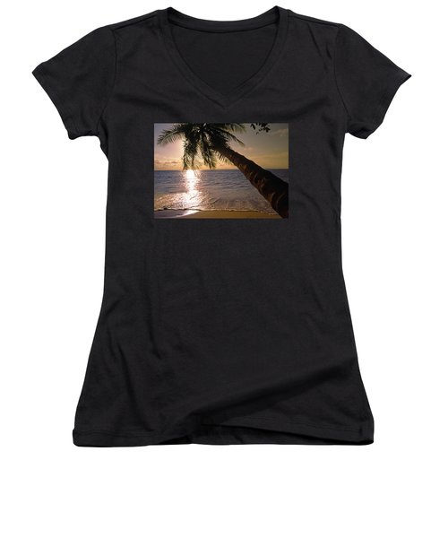 Palm Tree Over The Beach In Costa Rica Women's V-Neck