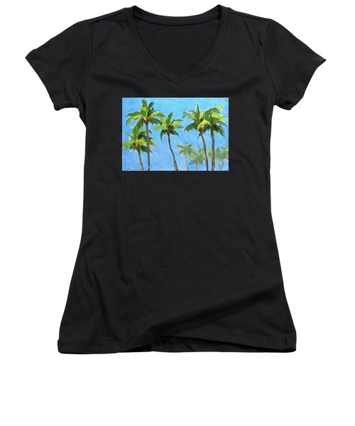 Palm Tree Plein Air Painting Women's V-Neck