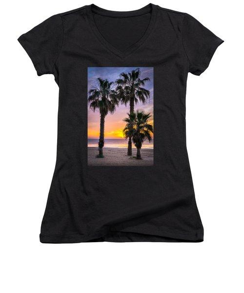 Palm Tree Sunrise. Women's V-Neck