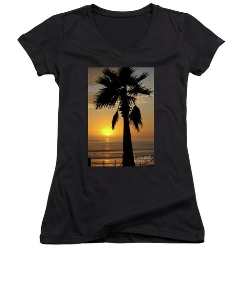 Palm Tree Sunset Women's V-Neck (Athletic Fit)