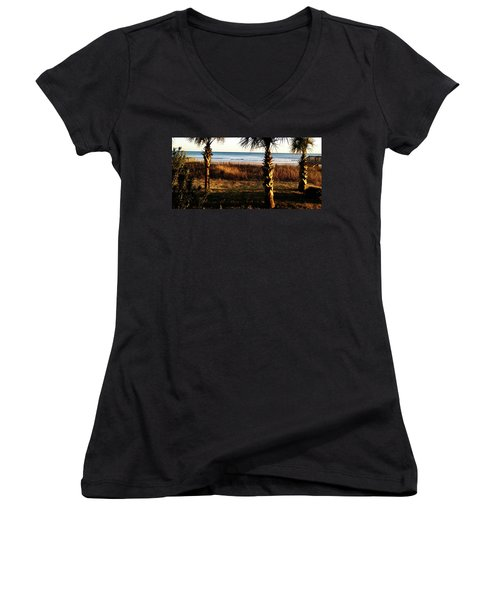 Women's V-Neck featuring the photograph Palm Triangle by Robert Knight