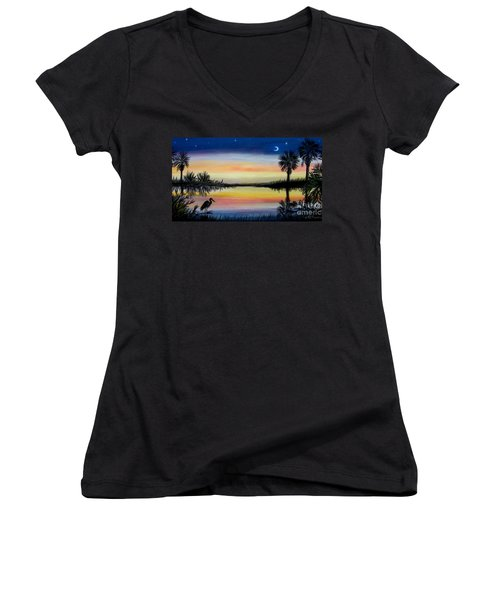 Palmetto Tree And Moon Low Country Sunset Women's V-Neck T-Shirt (Junior Cut) by Patricia L Davidson
