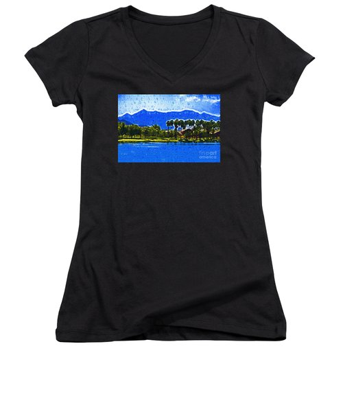 Palms And Mountains Women's V-Neck T-Shirt (Junior Cut) by Kirt Tisdale