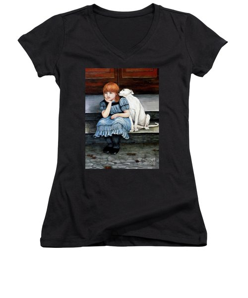 Women's V-Neck T-Shirt (Junior Cut) featuring the painting Pals Forever by Judy Kirouac