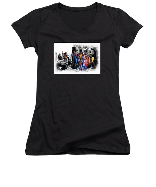 Pan Flutes In Cuenca Women's V-Neck T-Shirt (Junior Cut) by Al Bourassa
