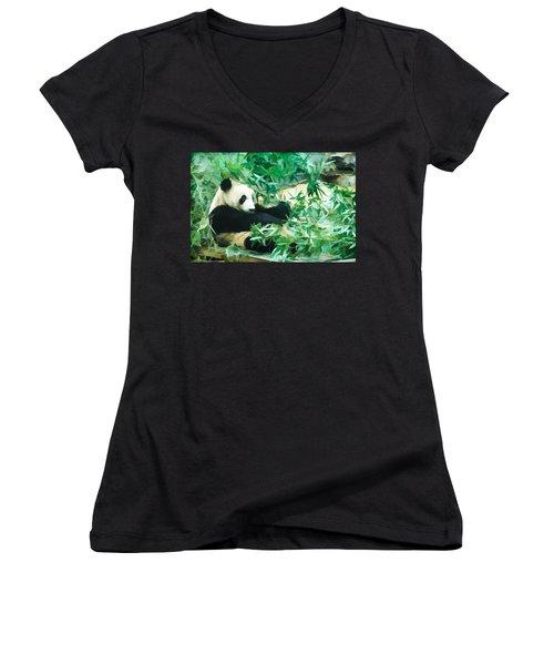 Panda 1 Women's V-Neck T-Shirt (Junior Cut) by Lanjee Chee