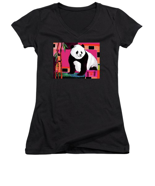 Panda Abstrack Color Vision  Women's V-Neck (Athletic Fit)