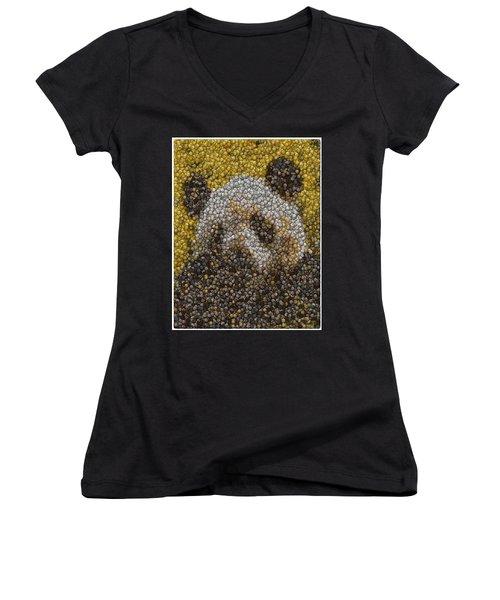 Women's V-Neck T-Shirt (Junior Cut) featuring the digital art Panda Coin Mosaic by Paul Van Scott