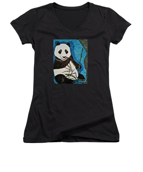 Women's V-Neck T-Shirt (Junior Cut) featuring the painting Panda by Jasna Gopic