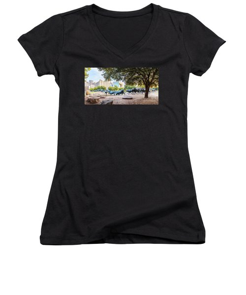Panorama Of Cattle Drive At Pioneer Plaza In Downtown Dallas - North Texas Women's V-Neck (Athletic Fit)