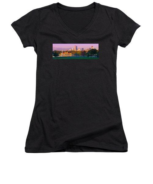 Panorama Of Denver Skyline From Museum Of Nature And Science - City Park Denver Colorado Women's V-Neck