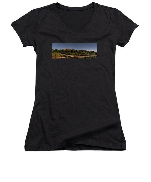 Panorama Of Enchanted Rock At Night - Starry Night Texas Hill Country Fredericksburg Llano Women's V-Neck