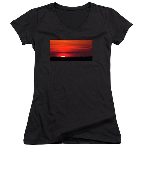 Panoramic Sunset Women's V-Neck (Athletic Fit)