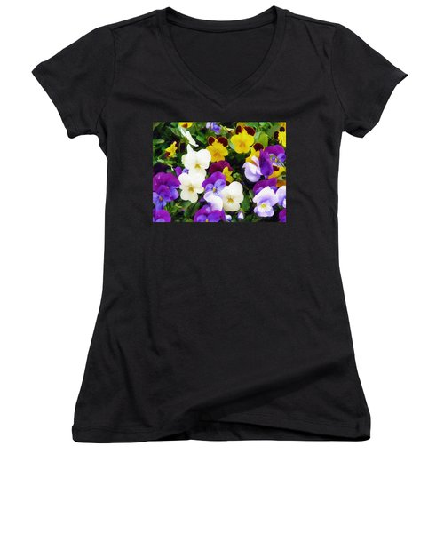 Pansies Women's V-Neck T-Shirt (Junior Cut) by Sandy MacGowan