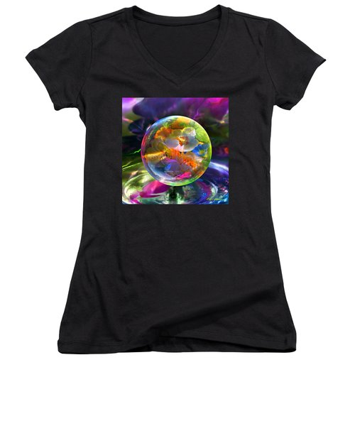 Pansy Drop Women's V-Neck T-Shirt (Junior Cut) by Robin Moline
