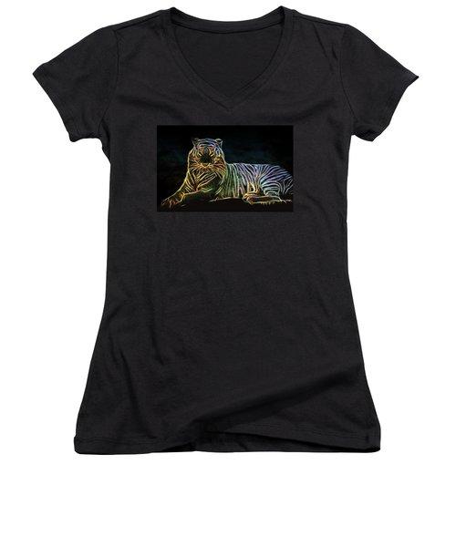 Women's V-Neck T-Shirt (Junior Cut) featuring the digital art Panthera Tigris by Aaron Berg