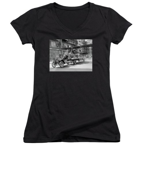 Parade Truck And Biplane Bw Women's V-Neck (Athletic Fit)