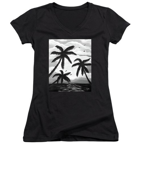 Women's V-Neck T-Shirt (Junior Cut) featuring the painting Paradise In Black And White by Teresa Wing