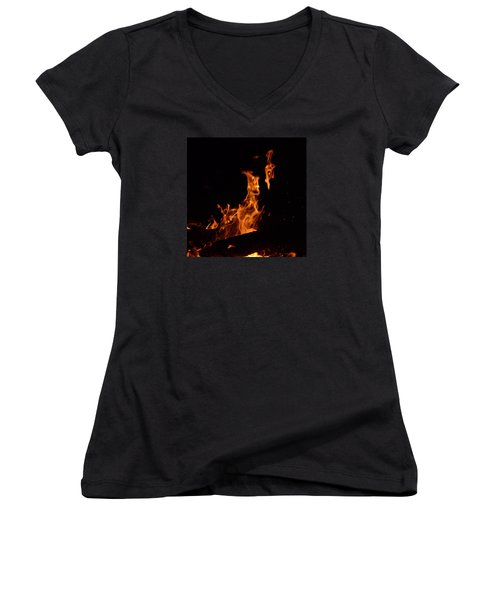 Pareidolia Fire Women's V-Neck T-Shirt