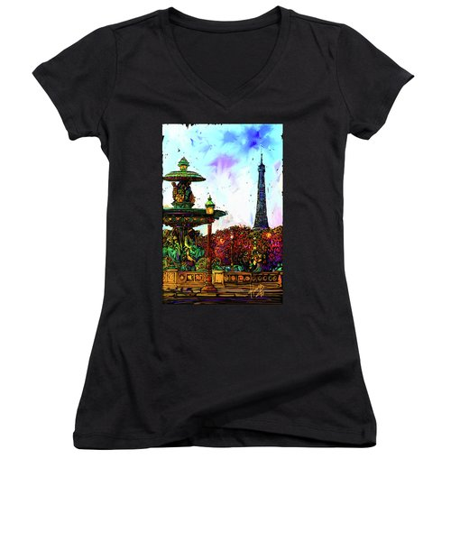 Paris Women's V-Neck T-Shirt