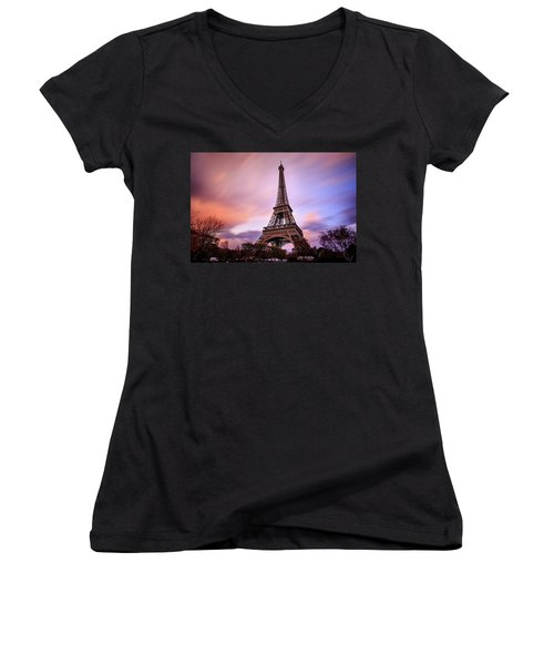Women's V-Neck T-Shirt (Junior Cut) featuring the photograph Paris Pastels by Jennifer Casey