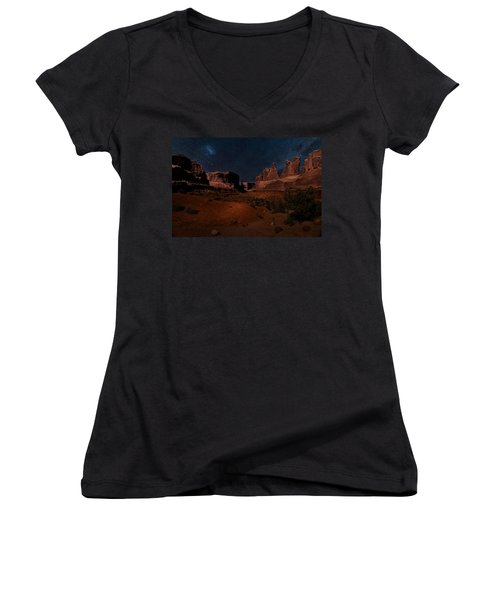Women's V-Neck T-Shirt (Junior Cut) featuring the photograph Park Avenue Trailhead by James Bethanis