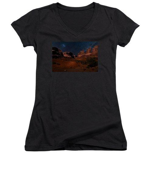 Park Avenue Trailhead Women's V-Neck T-Shirt (Junior Cut) by James Bethanis