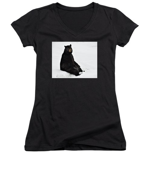 Park Bench Women's V-Neck T-Shirt (Junior Cut) by Tony Beck