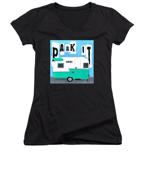 Park It-aqua Women's V-Neck
