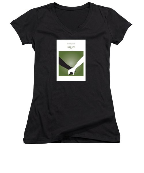 Park Life -- Blur Women's V-Neck T-Shirt (Junior Cut) by David Davies