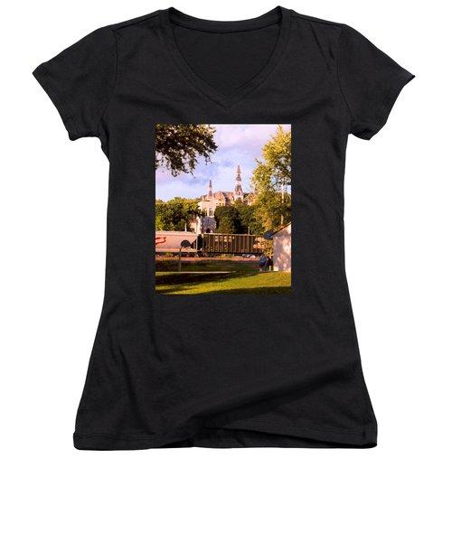 Women's V-Neck T-Shirt (Junior Cut) featuring the photograph Park University by Steve Karol
